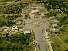 """Bird's-eye view of the pyramids of Teotihuacan.  The original name of the city is unknown, but it appears in hieroglyphic texts from the Maya region as puh, or """"Place of Reeds"""".[8] This suggests that the Maya of the Classic period understood Teotihuacan as a Place of Reeds similar to other Postclassic Central Mexican settlements that took the name Tollan, such as Tula-Hidalgo and Cholula."""