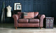 Sofa Workshop Oak Tan Brown Vintage Leather Sofas / American Flag Cushion / Union Jack Halo Chest / Vintage Mannequin Tailor's Dummy / Wooden Oars @ spacialise.com