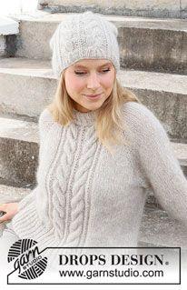 Sweater Knitting Patterns, Knitting Stitches, Free Knitting, Crochet Patterns, Vogue Knitting, Drops Design, Drops Kid Silk, Pull Torsadé, Crochet Diagram