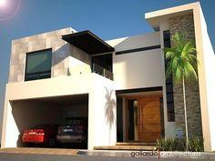 Fachada de casa contemporánea, un elegante diseño de Gallardo Arquitectura .     Esta precioda fachada de casa cuenta con cochera techada p...