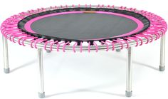 bellicon premium mini trampoline with pink bungees and a black and pink mat