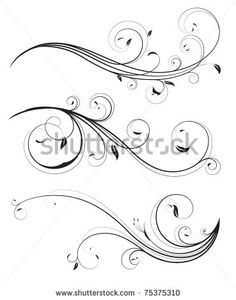 Buy Floral elements by PixelEmbargo on GraphicRiver. Vector set of swirling flourishes decorative floral elements Swirl Tattoo, Filigree Tattoo, Swirl Design, Mago Tattoo, Pinstriping Designs, Geniale Tattoos, Illustrations, Graphic Illustration, Calligraphy Art