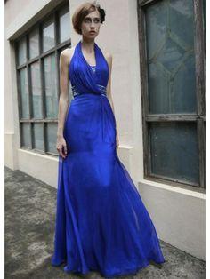 Tulle Halter Neckline Open Back Bodice A-line Prom Dress
