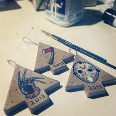 www.curtisashbyart.com #art #tattoo #horror #diy #holiday #ornaments #freddykrueger #jasonvor...