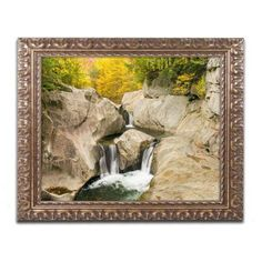 Trademark Fine Art Fall at the Falls Canvas Art by Michael Blanchette Photography Gold Ornate Frame, Assorted
