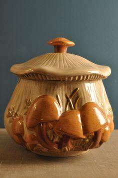 Items similar to Retro Arnel's Ceramic Mushroom Soup Tureen / Cookie Jar Glazed Pottery Servingware One of a Kind on Etsy