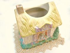 Sale Pastel Bunny Cottage Ceramic Planter by by TheSandlapperShop, $10.00