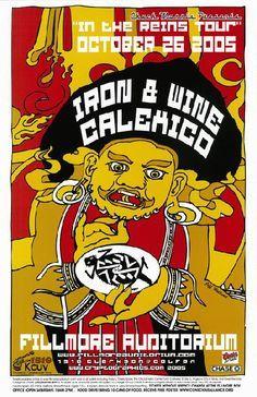 Image result for iron & wine calexico fillmore denver 2005 poster