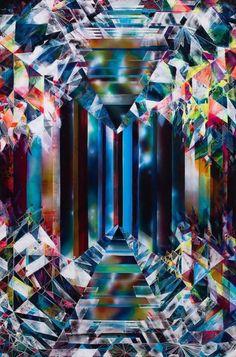Diamond pattern: crystal gemstone under microscope.Kaleidoscopicpainting by Michelle Hinebrook.