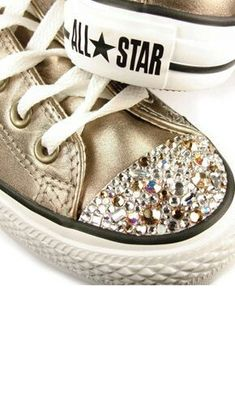 Converse with bling? Sparkly Converse, Converse All Star, Converse Shoes, Converse Design, Wedding Converse, Converse Trainers, Custom Converse, Cute Shoes, Me Too Shoes