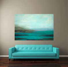 Acrylic Abstract Painting Fine Art Turquoise by OraBirenbaumArt. I want both the painting and the couch. Art Turquoise, Turquoise Couch, Turquoise Painting, Abstract Landscape, Abstract Art, Love Art, Painting Inspiration, Diy Art, Modern Art