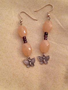 Peach and purple butterfly earrings boho hippie by MindfulMandala