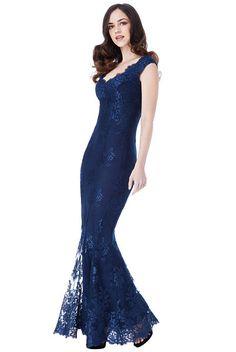 37d4cb6ca786 Modré plesové šaty s krajkou City Goddess Adina