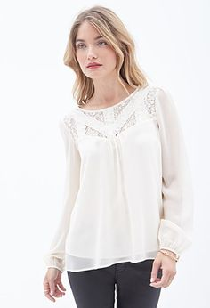 Lace-Paneled Georgette Blouse | LOVE21 - 2000129358