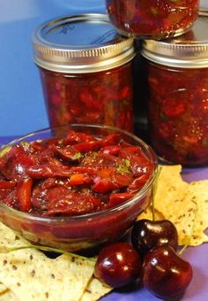 Stock up, spend an afternoon canning and you'll have fresh cherry salsa year-round. Stock up, spend an afternoon canning and you'll have fresh cherry salsa year-round. Canned Cherries, Sweet Cherries, Tapenade, Chutney, Cherry Salsa, Mexican Food Recipes, Healthy Recipes, Thm Recipes, Healthy Food
