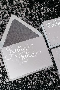 Silver and Black Wedding Invitations, Silver Foil Wedding Invitations, Adele Suite, Black Glitter, Glam Wedding Invitations, Just Invite Me