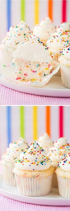 Im not a fan of cupcakes.but i do love angel food cake! and these look so fun! Funfetti Angel Food Cupcakes - love these cupcakes! Homemade funfetti is so much better than a box mix. Angel Food Cupcakes, Yummy Cupcakes, Cupcake Cakes, Sprinkle Cupcakes, Sprinkle Party, Rainbow Cupcakes, Rainbow Sprinkles, Baby Sprinkle, Confetti Cupcakes