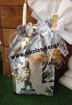 Shopping bag Paris με σοκολατένιο αυγό & λαμπάδα! Πασχαλινό δώρο για μια φίλη ή μια μεγάλη βαφτιστήρα. www.nikolas-ker.gr Easter 2014, Easter Ideas, Gift Wrapping, Gifts, Shopping, Gift Wrapping Paper, Favors, Gift Packaging, Presents