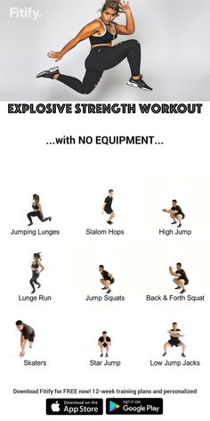 Power jumps without equipment by Fitify - Exercise - Fitness Fitness Workouts, At Home Workouts, Fitness Motivation, Exercise At Home, Power Training, Plyometrics, Plyometric Workout, Dumbbell Workout, Ab Workouts
