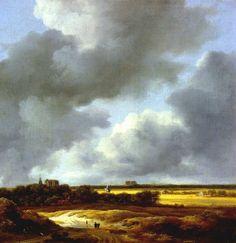 Dutch Golden Age landscape painting - low horizon line makes for dramatic representation of clouds - Jacob van Ruisdael