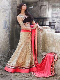USD 295.56 Beige Net Wedding Lehenga Choli 48168