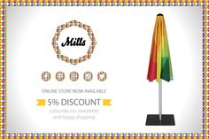 """""""Did you know that if you subscribe our newsletter you automatically get 5% discount on all your purchases?  Visit us on www.mills-parasols.com and subscribe now!"""" #Mills #MillsParasols #discount #availableinourstore #design #sun #sunumbrella #parasol #homedecor #garden #colourfulshadow #shadow #home #newsletter"""
