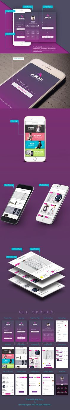 ASCAR mobile app psd template design for fashion shop, ecommerce and online store. Design unique and material style will be easy to customize and export to all mobile screen size.
