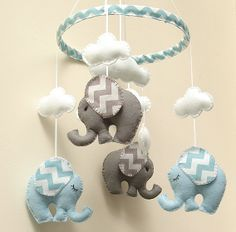 Chevron blue/Grey Elephant Mobile - Baby - Childrens Mobile READY TO SHIP on Etsy, $91.46