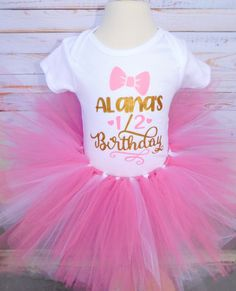 """Personalize """"1/2 birthday"""" Outfit for baby girls 6 months half/birthday. Tutu and onesie are made with a combination of pink and white ascents. Can be customized to different color options. Half Birthday Baby, 2nd Birthday Outfit, Birthday Tutu, Girl Birthday, Baby Girl Tutu, Baby Girls, Custom Baby Onesies, Tutus For Girls, Pretty Eyes"""