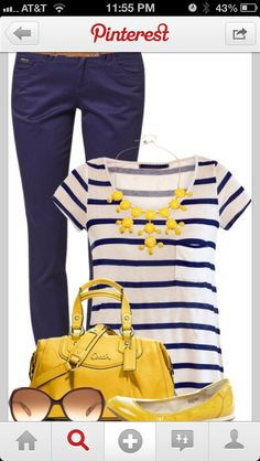 might be cold outside but we are already thinking spring and navy and yellow look like a perfect match to us