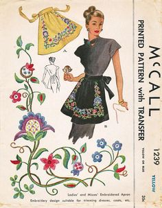 Vintage Apron Sewing Pattern McCall 1239 Half Apron with embroidered flowers design Half Apron Patterns, Vintage Apron Pattern, Retro Apron, Aprons Vintage, Mccalls Patterns, Vintage Sewing Patterns, Dress Patterns, Embroidered Apron, Embroidered Flowers