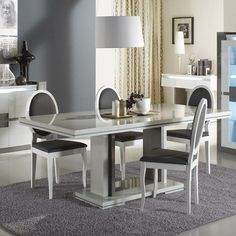 Renoir extendable dining table in taupe and grey gloss - 20750 white high gloss dining table and 6 chairs set, modern, contemporary. Modern Extendable Dining Table, Contemporary Dining Table, Dining Room Furniture, Home Furniture, Dining Chairs, Glass Top Dining Table, Dining Table In Kitchen, House Ceiling Design, Dinner Room