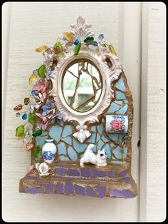Mosaic fairy door design, can be displayed as a wall hanging or free standing on a desk or shelf. just listed to my Etsy shop Mosaic Crafts, Mosaic Projects, Mosaic Ideas, Mosaic Planters, Succulent Planters, Succulents Garden, Hanging Planters, Cactus Plants, Mirror Mosaic