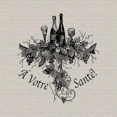 French Script Wine Bottles Grapes Glasses French Decor