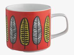 FREDA MULTI-COLOURED Porcelain Red leaf-patterned mug - HabitatUK