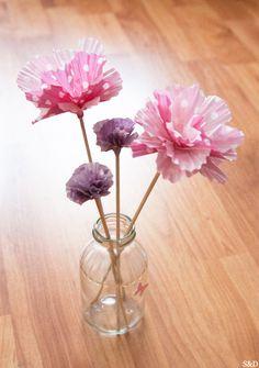 Fleurs faites avec des coupelles en papier pour cupcakes - tutoriel