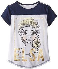 Disney Big Girls' Frozen Elsa Jersey Colorblock Baseball T-Shirt