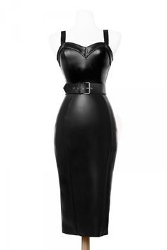 Deadly Dames Downtown Dame Dress in Faux Black Leather