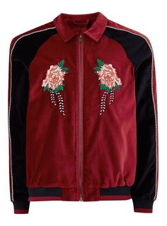 2a316041db6 Red Faux Suede Zip Through Jacket With Embroidery - Coats   Jackets -  Clothing