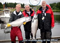 Just another day at the office!  Two large Chinook salmon, BC fishing lodge.