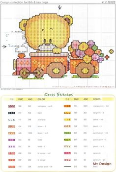 toy train with bear Free Cross Stitch Charts, Cute Cross Stitch, Cross Stitch Patterns, Cross Stitch Tutorial, Baby Embroidery, Alpha Patterns, Chart Design, Cross Stitching, Crochet Baby