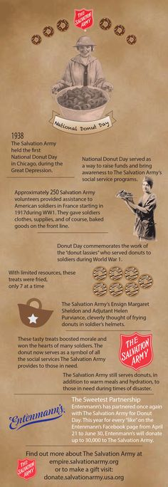 """#NationalDonutDay honors our military veterans and commemorates the work of Salvation Army volunteers (known as """"Donut Lassies"""") who used the tasty confection to comfort American soldiers in France and Germany during World War I. Celebrate with us and Entenmann's today!"""