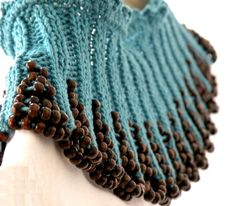 Hand Knit Teal Collar Capelet with Brown by ArzuMusaKnitting, $34.00