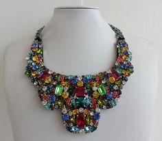 Statement necklace, Stunning necklace, Olivia necklace, Awesome necklace, Collar necklace with rhinestone and Swarovski strass IV152 by IvMiro on Etsy