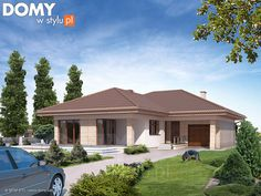 Projekt domu Neptun 5 - wizualizacja frontowa Modern Family House, Modern Bungalow House, Family House Plans, Home Design Floor Plans, Home Building Design, Building A House, Tuscan House Plans, Modern House Plans, House Plans South Africa