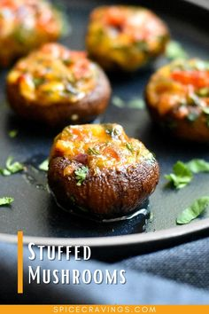 Crisp mushroom caps filled with a veggie, herb and cheese mix! These mouth watering Stuffed Mushrooms are a perfect vegetarian and keto-friendly appetizer, ready in under 30-minutes using an Airfryer or oven! #mushrooms #vegetarianrecipes #vegetarianappetizers #stuffed mushrooms #fingerfood #appetizers Stuffed Mushroom Caps, Stuffed Mushrooms, Stuffed Peppers, Yummy Appetizers, Appetizer Recipes, Party Appetizers, Low Carb Recipes, Vegetarian Recipes, Burger Recipes
