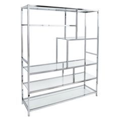 Chrome and glass shelf etagere in the style of Milo Etagere, Mid Century, USA.