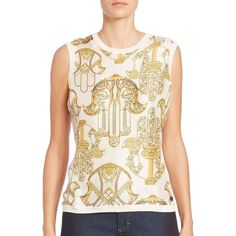 Versace Collection Printed Stretch-Cotton Shell ($415) ❤ liked on Polyvore featuring tops, apparel & accessories, pink sleeveless top, versace top, pink pullover, sweater pullover and sleeveless tops