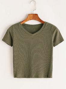 V Neck Ribbed Knitted T-shirt Crop Top Outfits, Crop Top Shirts, Cute Casual Outfits, Cute Shirts, Pretty Outfits, Crop Tops, Girls Fashion Clothes, Teen Fashion Outfits, Girl Outfits