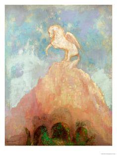 White Pegasus, circa 1908 by Odilon Redon